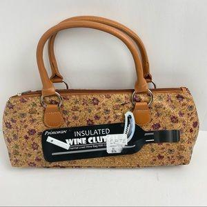 Primeware Insulated Cork Floral Wine Clutch Bag